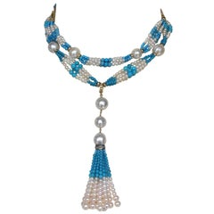 Marina J Cluster Pearl & Turquoise long Sautoir with 14k Yellow Gold and Tassel