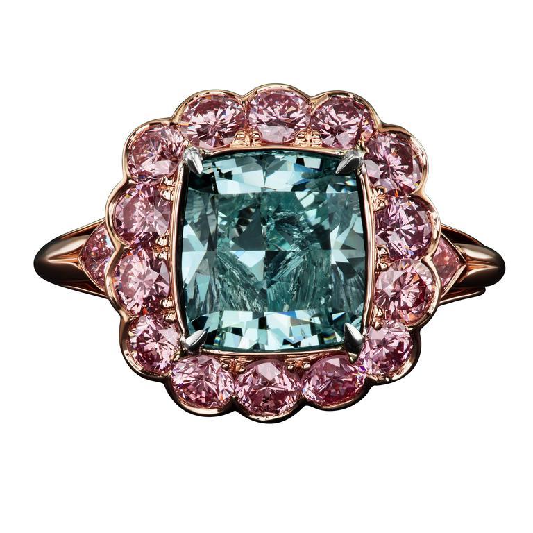 David Rosenberg 4.16 Carat GIA Fancy Intense Blue Green Cushion Cut Diamond Ring For Sale
