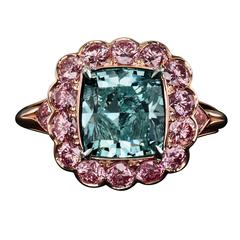 David Rosenberg 4.16ct Fancy Intense Blueish Green Cushion Cut Diamond Ring