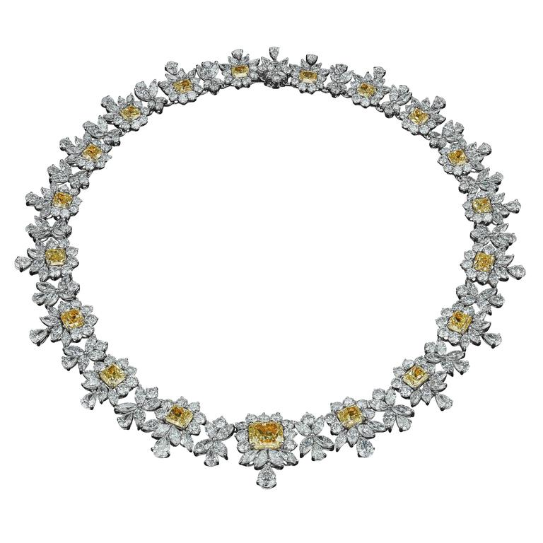 David Rosenberg Platinum White and Yellow Diamond Black Tie Necklace