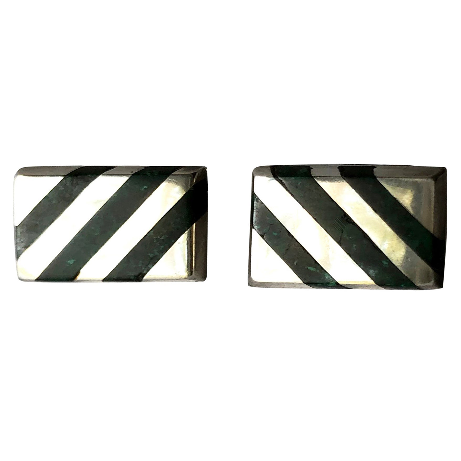 Enrique Ledesma Mexican Modern Sterling Silver Green Malachite Striped Cufflinks