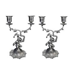 Antique English Silver Bacchanalian Pair of Candelabra Suite