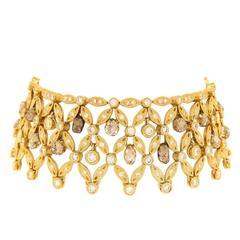 Adler of Genève Diamond Gold Lace Cuff Bracelet