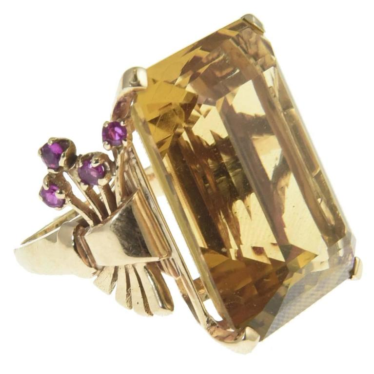 1940s Retro Citrine & Ruby Rose Gold Ring