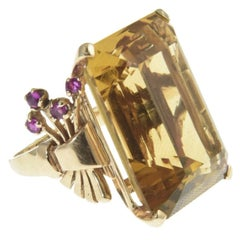1940s Retro Citrine and Ruby Rose Gold Ring