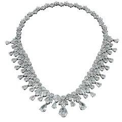 David Rosenberg Platinum 96 Carats Pear and Round Shape Diamond Tiara Necklace