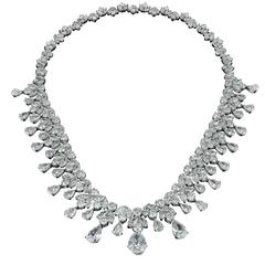 David Rosenberg Platinum 96 Carats Pear and Round Shape Diamond Tiara Necklace