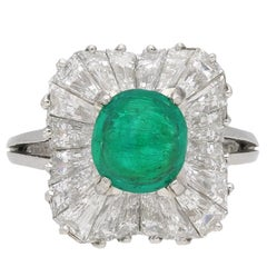 J.E.Caldwell Natural Unenhanced Emerald Cabochon and Diamond Ballerina Ring