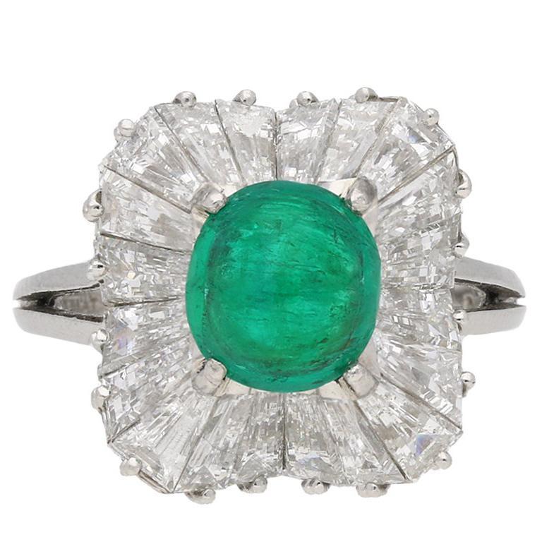 J.E.Caldwell Natural Unenhanced Emerald Cabochon and Diamond Ballerina Ring