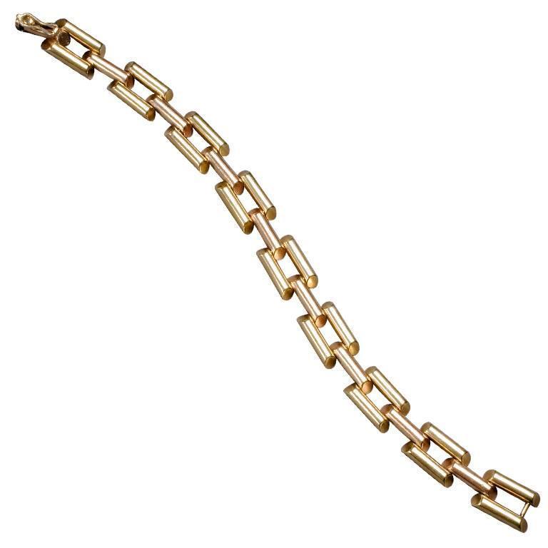 1950s Retro Two Color Gold Link Bracelet