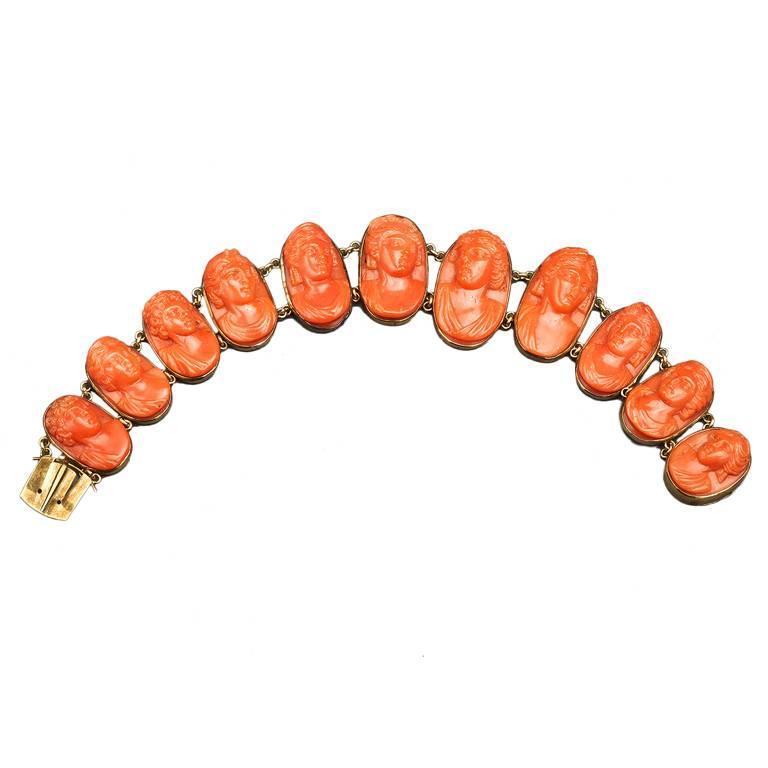 19th Century Carved Coral Link Bracelet For Sale