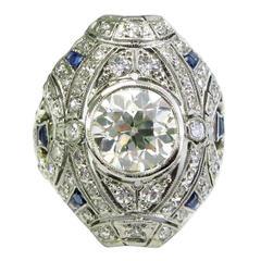 2.26 Carat Old European Diamond Art Deco Ring