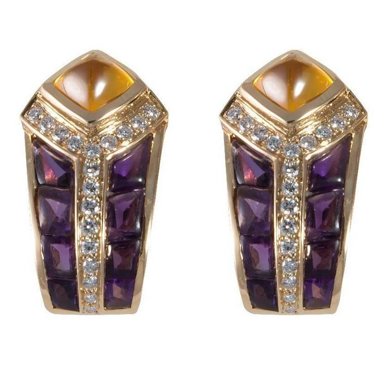 Fred Amethyst Citrine Diamond Gold Earclips For Sale