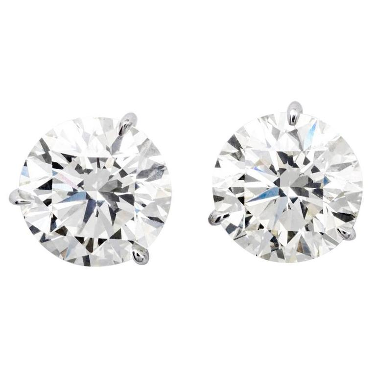 Brilliant 7.16 Carats Diamonds Gold Stud Earrings  For Sale