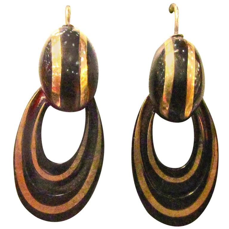 Antique Pique and Gold Hoop Earrings For Sale