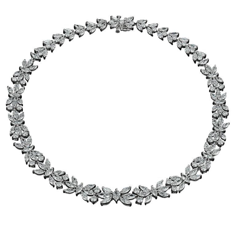 David Rosenberg Platinum 49.75 Carat Brilliant & Marquise Shape Diamond Necklace