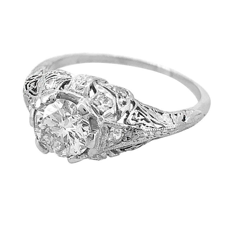 Edwardian .94 Carat Diamond and Platinum Antique Engagement Ring For Sale