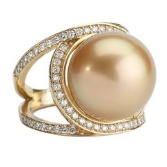 Gorgeous Golden Pearl Diamond Gold Cocktail Ring