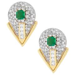 Natural Emerald Diamond Yellow Gold Earrings