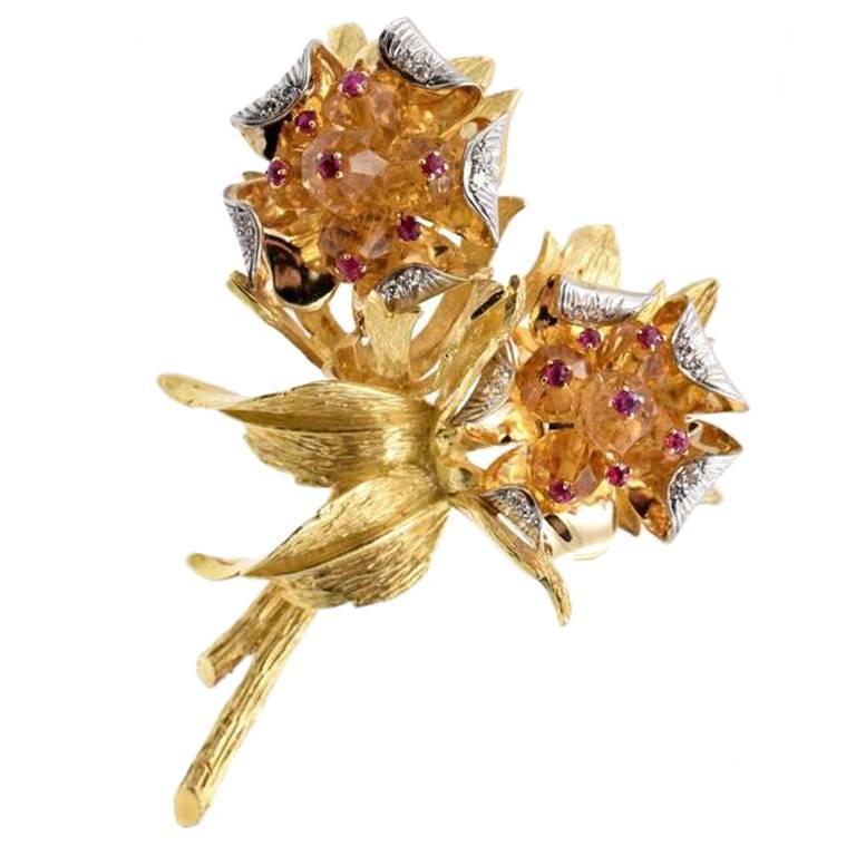 Karbra Golden Topaz Brooch