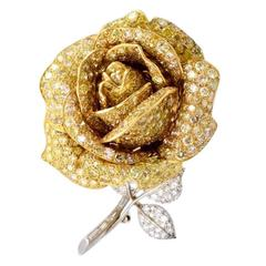 Fancy Yellow and White Diamond Rose Brooch