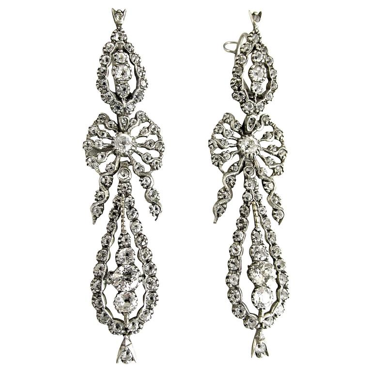 Antique  Portuguese Paste and Silver Earrings For Sale