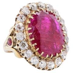 12 Carat Natural Ruby 3.5 Carat Diamond Cluster Ring