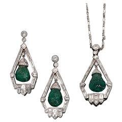 Engraved Emerald Diamond Platinum Demi-Parure