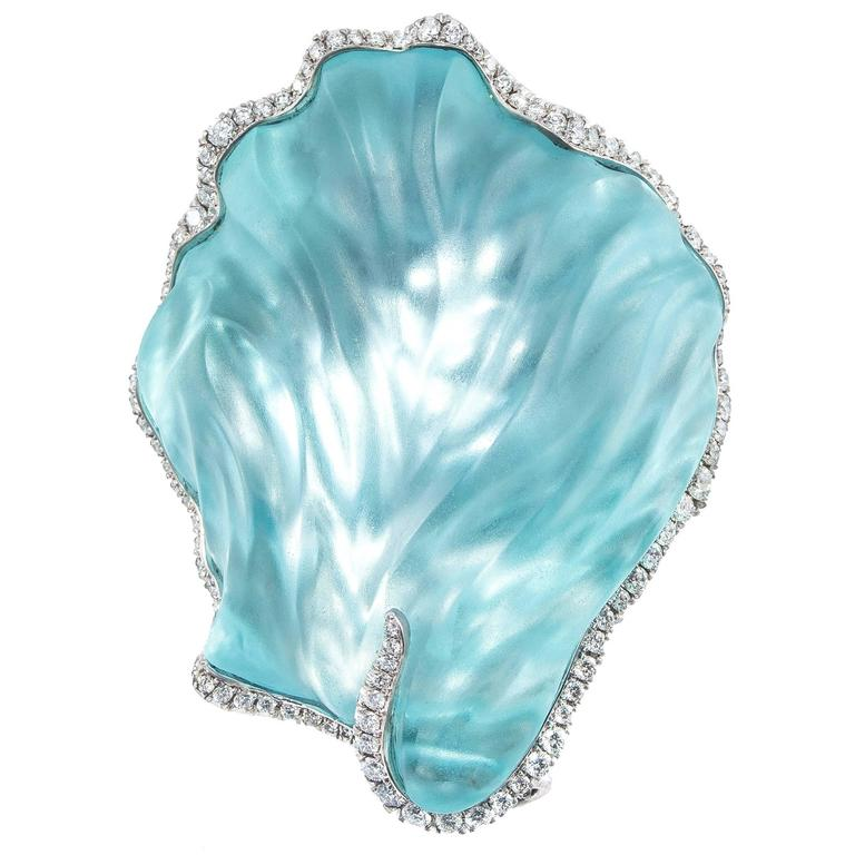 Naomi Sarna Carved Seashell Aquamarine Diamond Gold Brooch