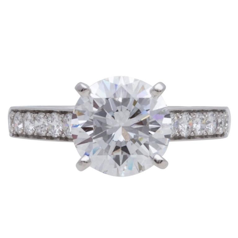 Cartier GIA Cert 3.04 Carat Diamond Platinum Engagement Ring