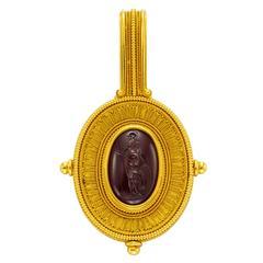 Antique Victorian Garnet Intaglio Gold Pendant