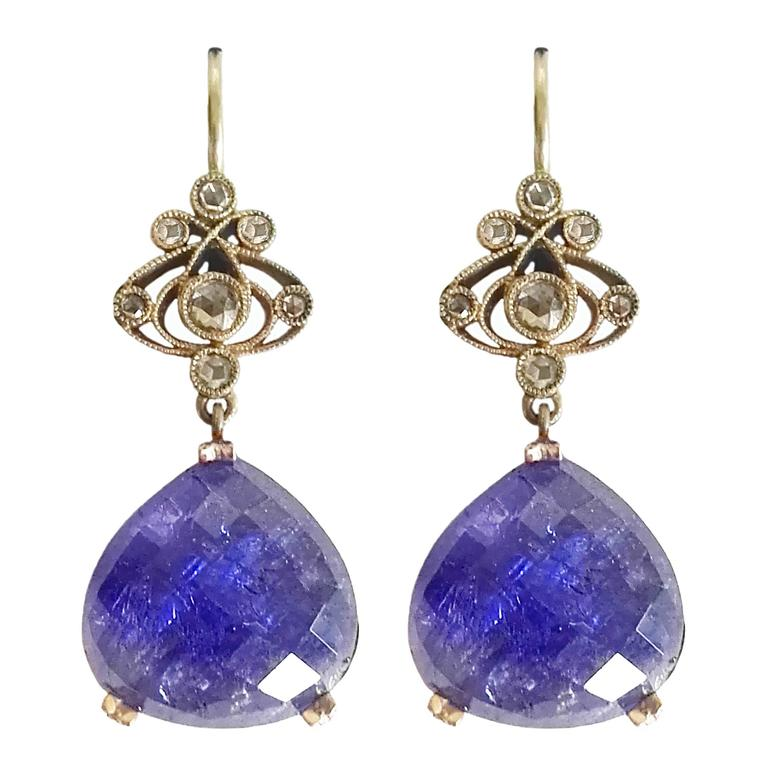 Dalben Tanzanite Diamond Gold Earrings