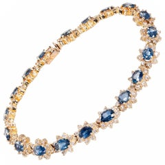 14.07 Carat Blue Sapphire Diamond Yellow Gold Bracelet