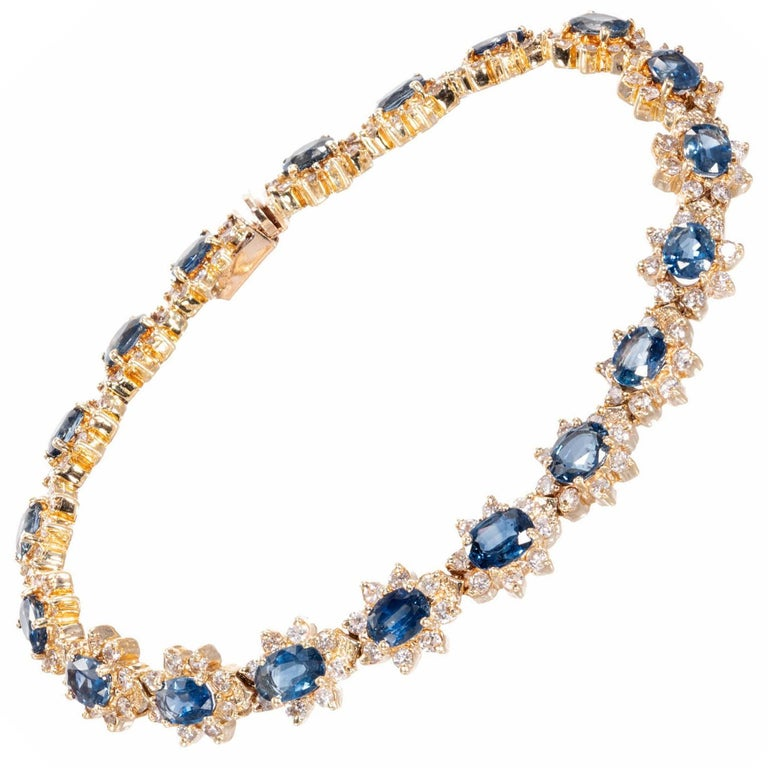 Blue Sapphire Diamond Yellow Gold Bracelet