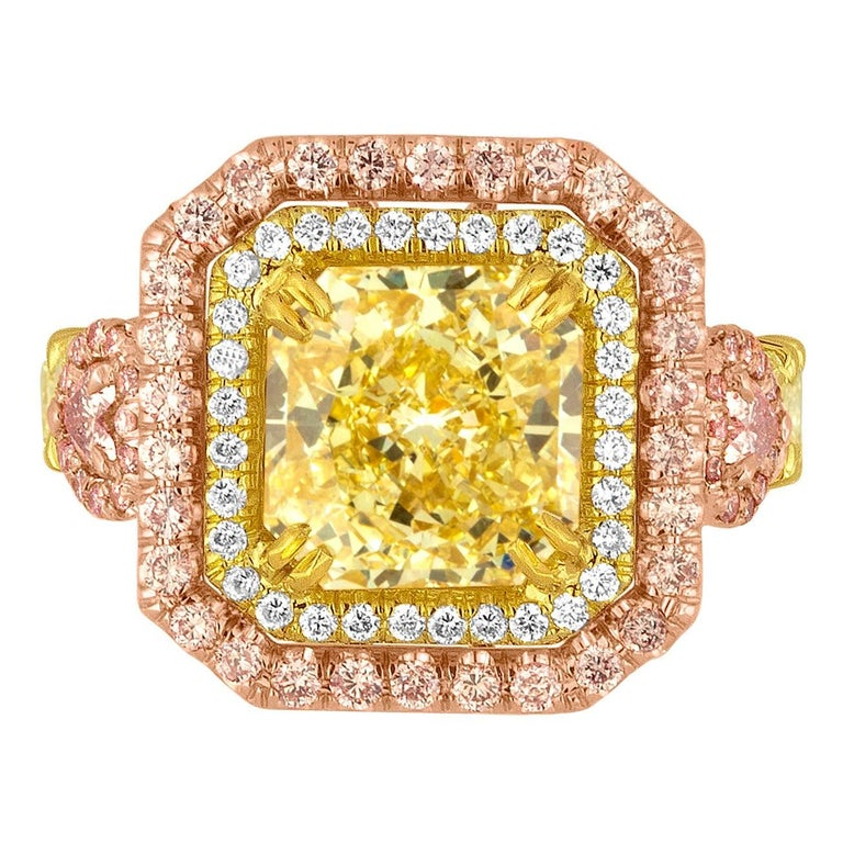 GIA Fancy Yellow 4.02 Carat Diamond Accented With Fancy Pink Diamonds For Sale