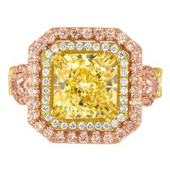 GIA Fancy Yellow 4.02 Carat Diamond Accented With Fancy Pink Diamonds