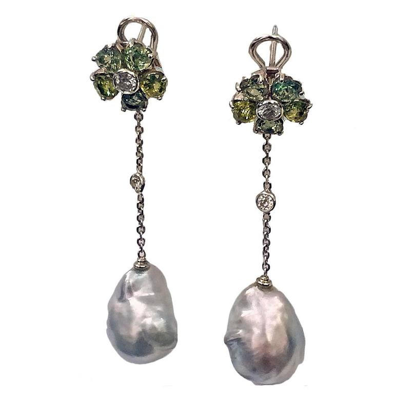 Baroque Pearl Diamond Green Sapphire Earrings For Sale