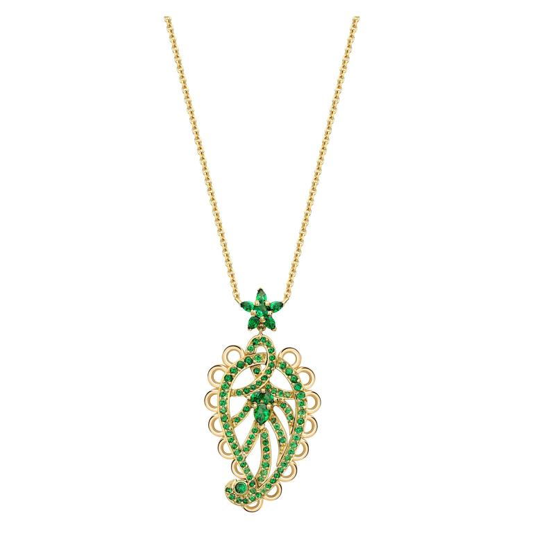Ana de Costa Round Pear Tsavorite Yellow Gold Paisley Drop Chain Pendant