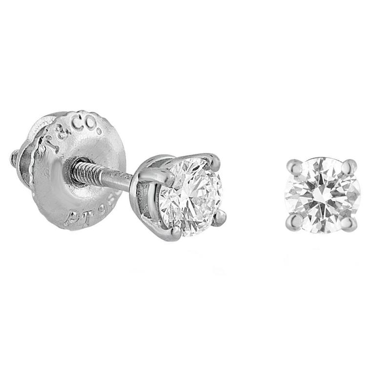 ctw stud diamond platinum round carat in earrings