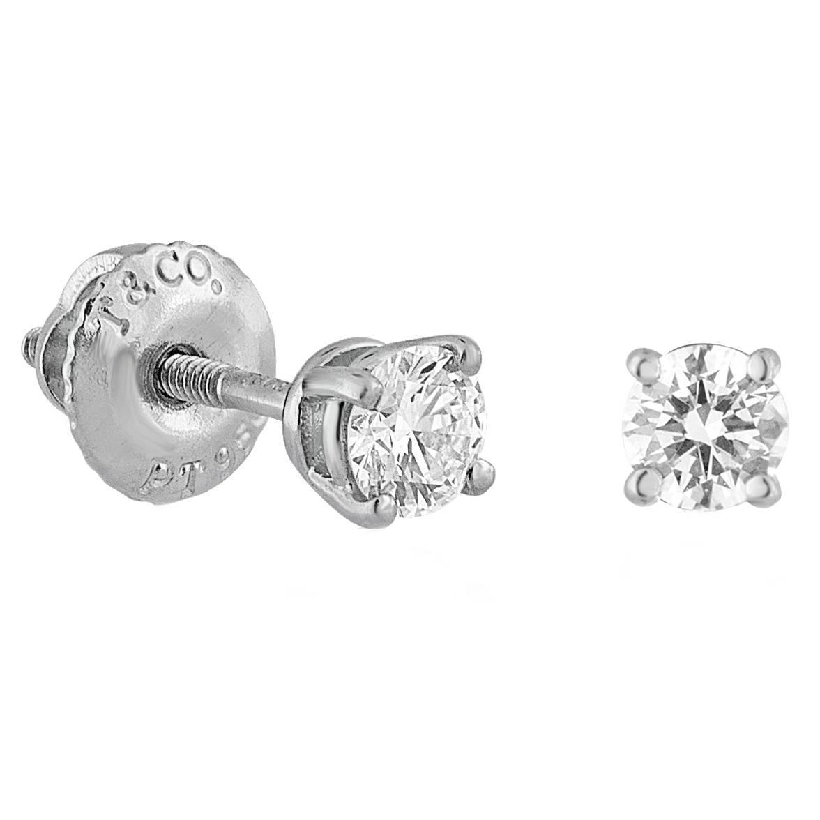 Igi Certified Tiffany And Co 0 38 Carat Diamond Platinum Stud Earrings For At 1stdibs