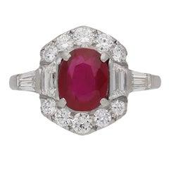 Art Deco Natural Unenhanced Burmese Ruby and Diamond Ring