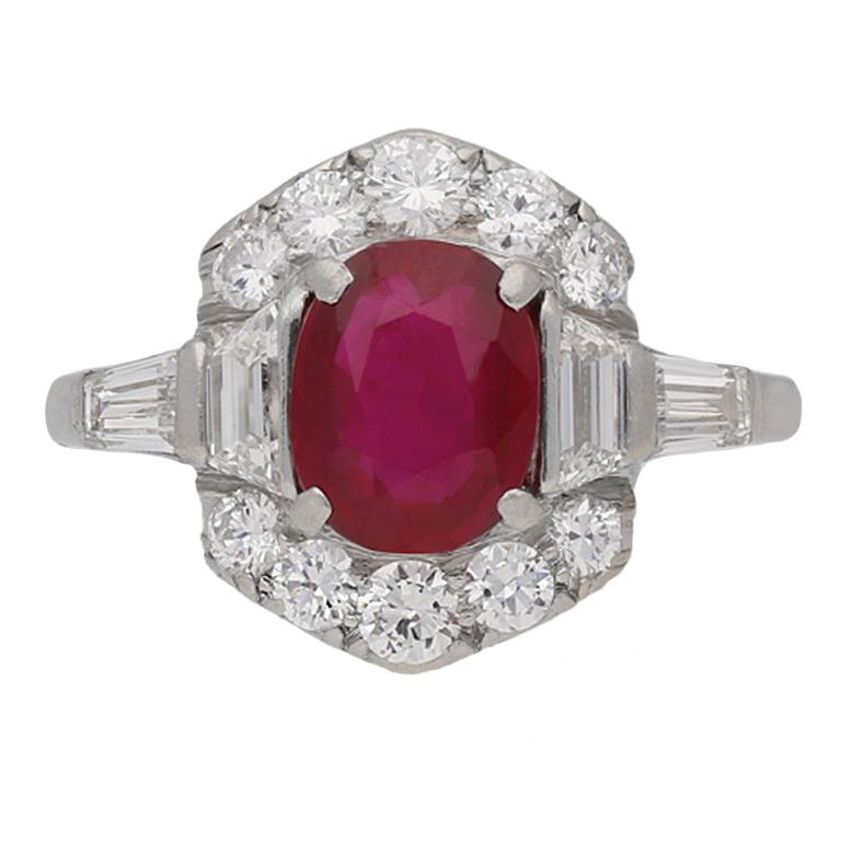 Art Deco Natural Unenhanced Burmese Ruby and Diamond Ring