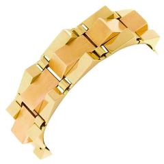 Art Deco Geometric French Gold Bracelet