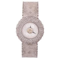 Buccellati White Gold ELIO Bukhara Engraved Quartz Wristwatch