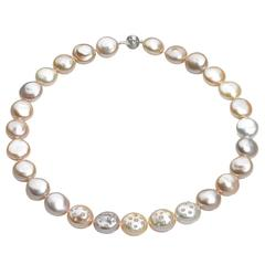 Russell Trusso Diamond Embedded Graduated Multicolored Coin Pearl Necklace