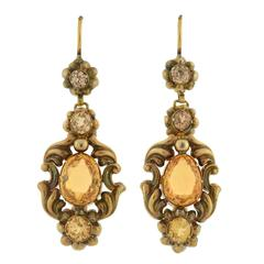 Victorian Citrine & Zircon Gold Earrings
