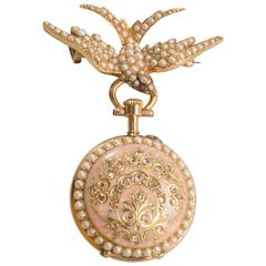 Russian Ladies Enamel Natural Pearl Gold Pendant Watch