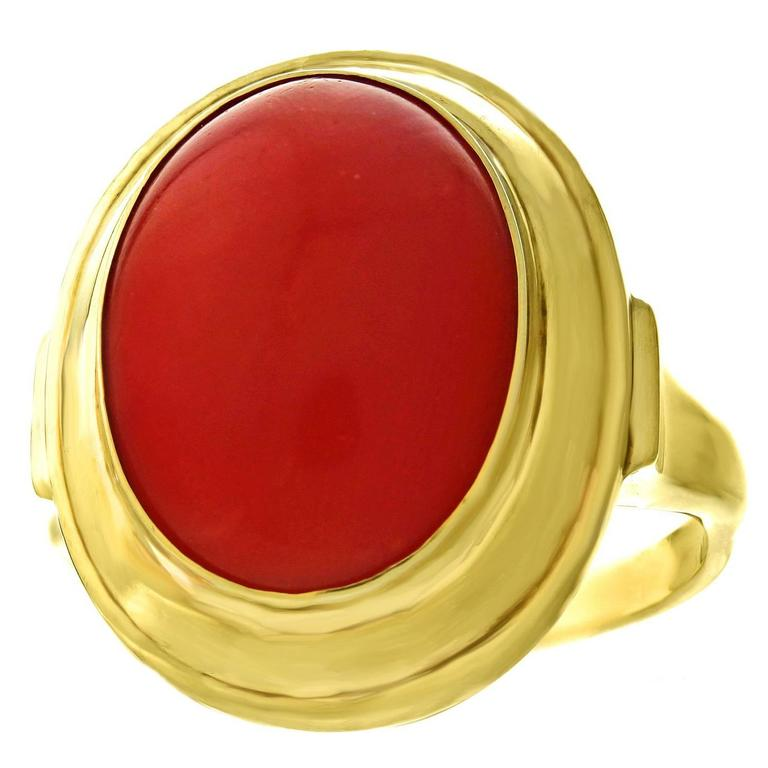 1950s Modernist Natural Coral Gold Ring