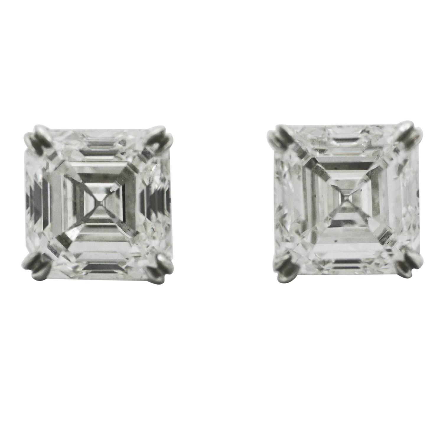 emerald cut stud earrings 5 02 carat emerald cut platinum stud earrings at 6387