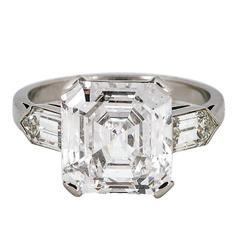 4.76 Carat Asscher Cut Diamond Platinum Ring
